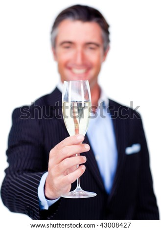 Successful businessman toasting with Champagne against a white background - stock photo