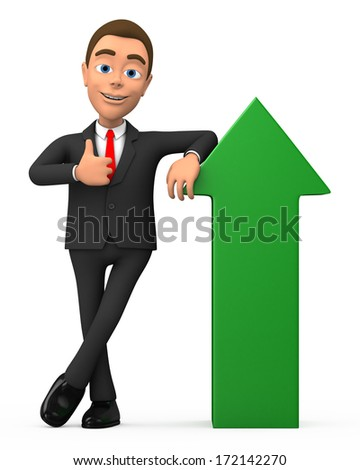 successful businessman with a green arrow - stock photo