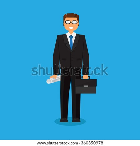 Successful businessman with a suitcase. Thinking list. Template or blank with business concept.  - stock photo