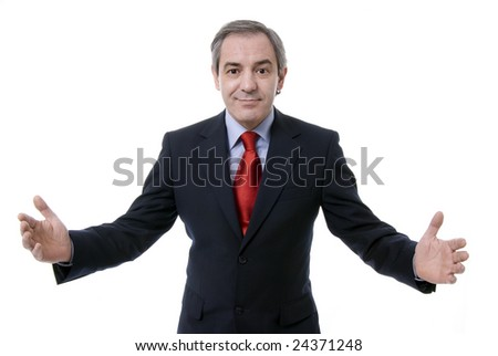Successful businessman with arms open, isolated on white background - stock photo