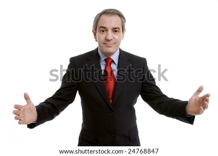 Successful businessman with arms open, isolated on white background