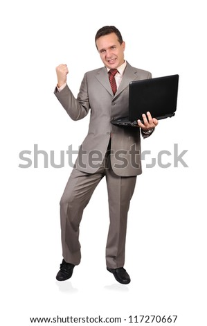 successful businessman with laptop on a white background