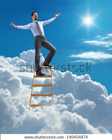 Successful businessman with open arms standing at the top of ladder high in the sky