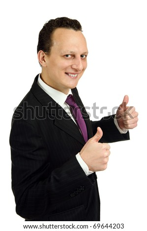 Successful businessman with thumbs up, isolated on white background