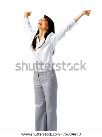 Successful businessperson celebrating with outstretched arms, isolated on white - stock photo