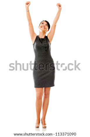 Successful businesswoman celebrating with arms up - isolated over a white background - stock photo