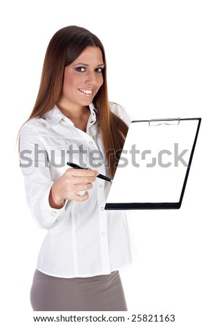 Successful businesswoman reach pen for sign document over white background. - stock photo