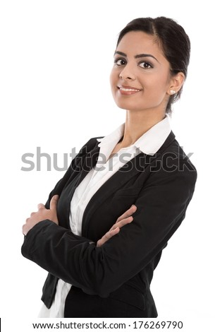 Successful businesswoman with folded arms isolated on white. - stock photo