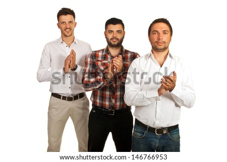 Successful casual business men standing in a row and clapping their hands isolated on white background