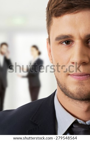 Successful confident businessman in business suit. - stock photo