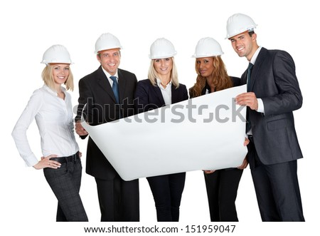 Successful construction workers with building plan isolated on white background