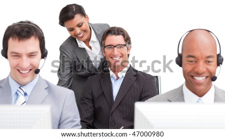 Successful customer agent team working in the office against a white background