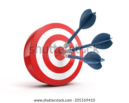 successful - dart hitting a target isolated white background