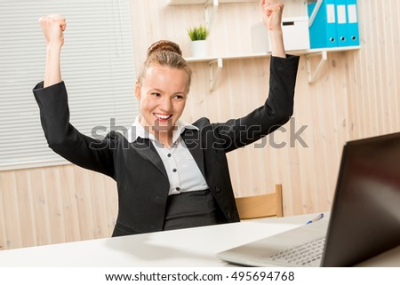 successful entrepreneur woman enjoys better deal at the office