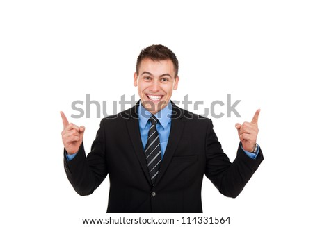 Successful excited business man happy smile looking at camera hold finger up gesture, handsome young businessman with raised hands arms, wear elegant shirt and tie isolated over white background - stock photo