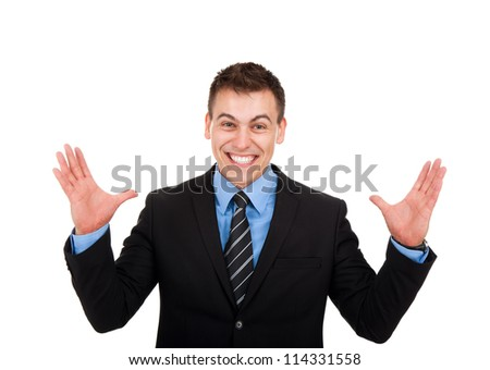 Successful excited business man happy smile looking at camera hold wide open palm gesture, handsome young businessman with raised hands arms, wear elegant shirt and tie isolated over white background - stock photo