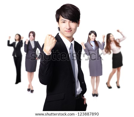 Successful excited Business man smile hold fist with young businesspeople group team isolated over white background, asian model