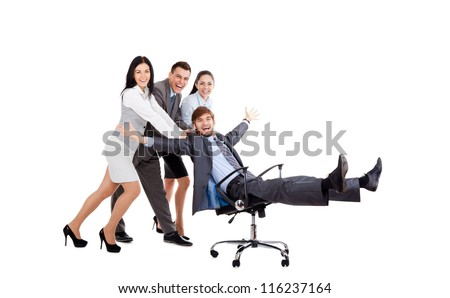 Successful excited Business people group team push colleague sitting in chair, young businesspeople smile raised hands arms, Isolated over white background, concept of leader success collaboration - stock photo
