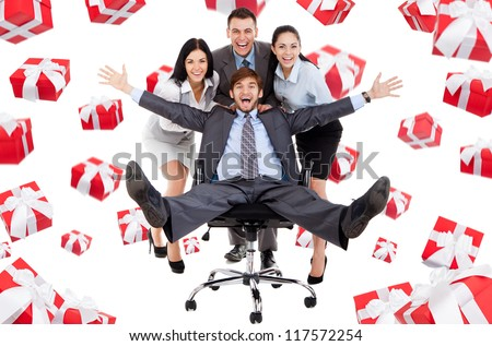 Successful excited Business people group team push man leader colleague sitting in chair, gift box presents fall fly around, young businesspeople smile, Isolated over white background