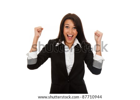 Successful executive very excited, happy smiling business woman, isolated on white background - stock photo