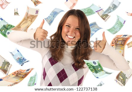 Successful girl on falling euros background. Conceptual business image - stock photo