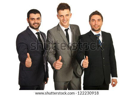 Successful group of business men isolated on white background - stock photo