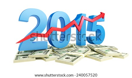successful growth of profits in the business in 2015 - stock photo