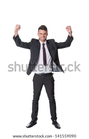 Successful happy businessman gestures his joy