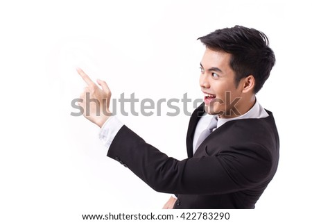 successful, happy businessman pointing up at blank space - stock photo