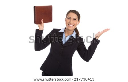 Successful happy isolated businesswoman over white with leather wrapper.