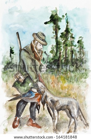 Successful hunting. Hunter thanked the dog for the bird. Watercolor handmade painting art  illustration - stock photo