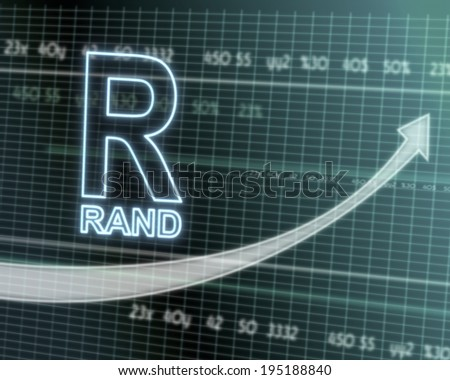successful investmanet chart with a South Africa Rand sign on a stock market table with rising graph arrow - stock photo