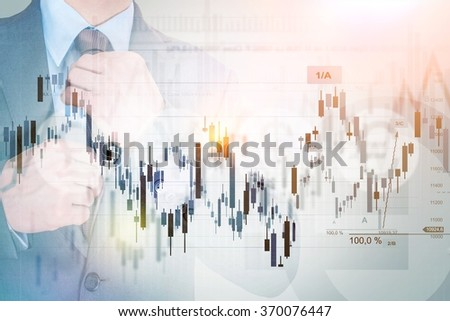 Successful Investor Concept Photo. Businessman, Stats and Line Graphs Concept. Currency and Stock Market Trading.