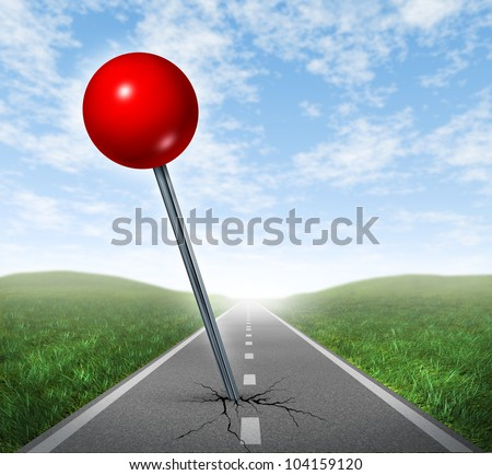 Successful location direction business symbol with a red push pin pinned and marked on a perspective oriented asphalt road  as an icon of vision and achieving your goals. - stock photo