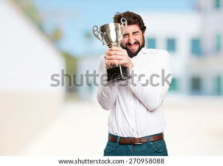 successful man with a cup - stock photo