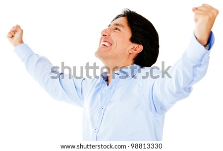 Successful man with arms open - isolated over a white background