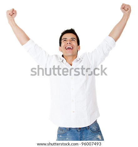 Successful man with arms up - isolated over a white background