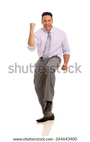 successful mature business man waving fists isolated on white - stock photo
