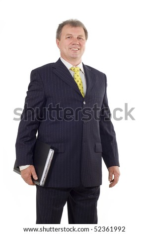 successful mature business man with folder isolated on white background - stock photo