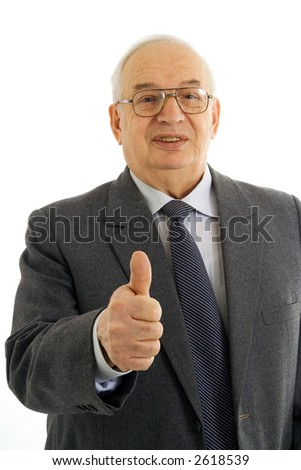 Successful mature businessman with thumbs up isolated on white