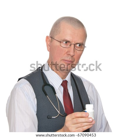 Successful medical doctor with stethoscope. Isolated over white background.