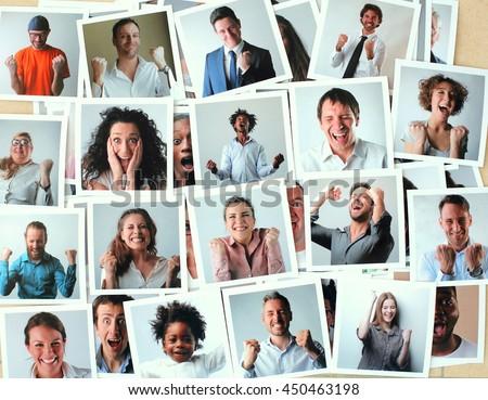 Successful people jubilating - stock photo