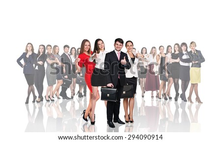 Successful people standing with their team in background isolated on white