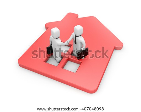Successful real estate deal. 3d illustration - stock photo