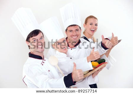 Successful restaurant staff - stock photo