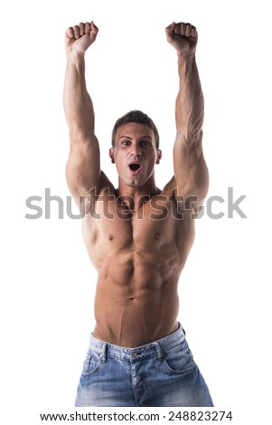 Successful sexy muscular shirtless man with fists raised, looking at camera shouting for joy, happy, isolated on white - stock photo