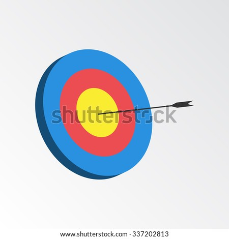 Successful shoot. Darts target aim icon. Reaching goal concept. Illustration.