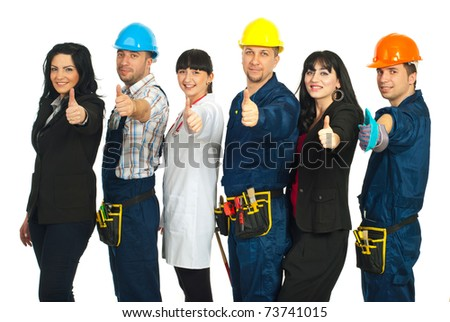 Successful six people with different careers giving thumbs up and standing in a line isolated on white background - stock photo