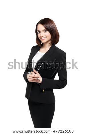 Successful smiling business woman isolated over white
