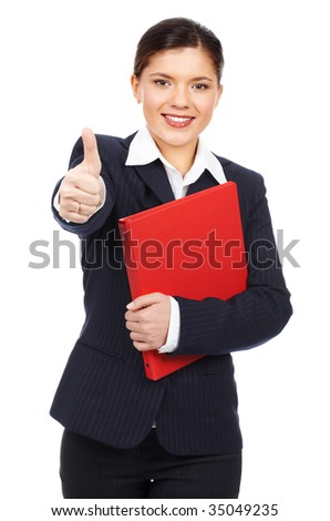 Successful smiling business woman. Isolated over white background